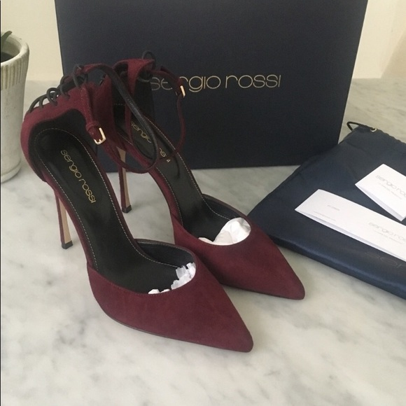 a67b076319e Sergio Rossi dark red suede Secret lace up heels. M 5c3cac1aaaa5b8b5bb51e7cf
